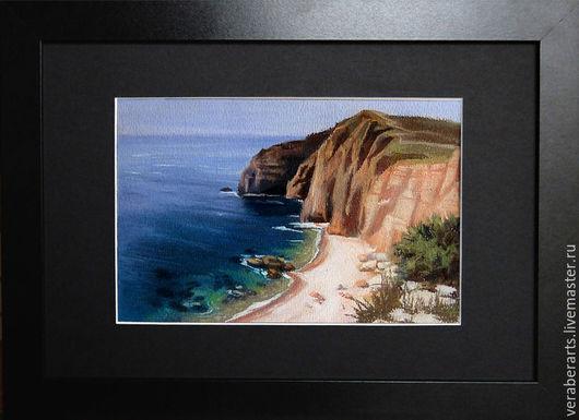 """Пейзаж ручной работы. Ярмарка Мастеров - ручная работа. Купить пастель """" Песок и скалы"""". Handmade. Пастель, пляж, скалы"""