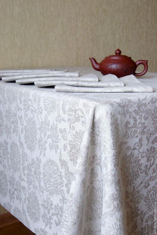 """Текстиль, ковры ручной работы. Ярмарка Мастеров - ручная работа. Купить Комплект """"Хризантемы""""( скатерть льняная, салфетки льняные). Handmade."""