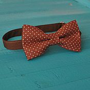 Аксессуары handmade. Livemaster - original item Tie the Interest / the bow tie brown with white polka dots. Handmade.