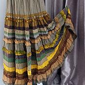 Одежда ручной работы. Ярмарка Мастеров - ручная работа Листопад. Длинная,многоярусная,жатая юбка золотисто-оливковых оттенков. Handmade.