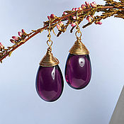 Украшения handmade. Livemaster - original item Large plum drop earrings in 24K gold. Handmade.