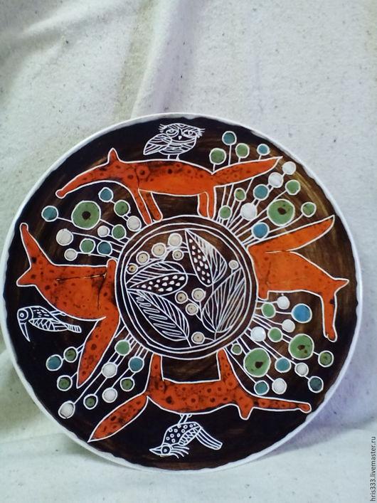 """Декоративная посуда ручной работы. Ярмарка Мастеров - ручная работа. Купить Тарелка декоративная  """"Рыжые""""  большая. Handmade. Оранжевый, лиса"""