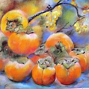 Pictures handmade. Livemaster - original item Golden season Painting with pastels (persimmon orange for the kitchen). Handmade.