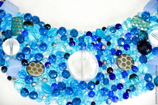 """Колье, бусы ручной работы. Ярмарка Мастеров - ручная работа. Купить Колье """"Синева"""". Handmade. Голубой, подарок, подарок подруге"""