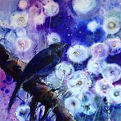Картины и панно ручной работы. Ярмарка Мастеров - ручная работа Акварель Ночная Синяя Птица. Handmade.