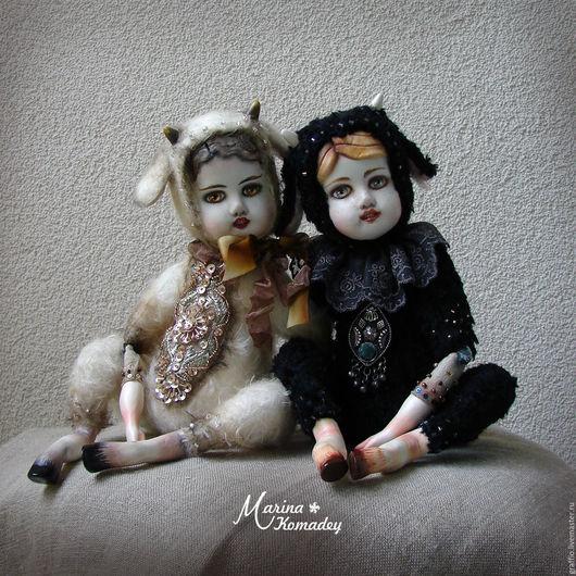 Коллекционные куклы ручной работы. Ярмарка Мастеров - ручная работа. Купить Тедди-долл фавны. Handmade. Бежевый, кукла интерьерная