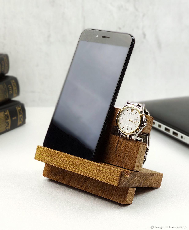 Подставка для телефона и часов из дерева, Подарки на 23 февраля, Москва,  Фото №1