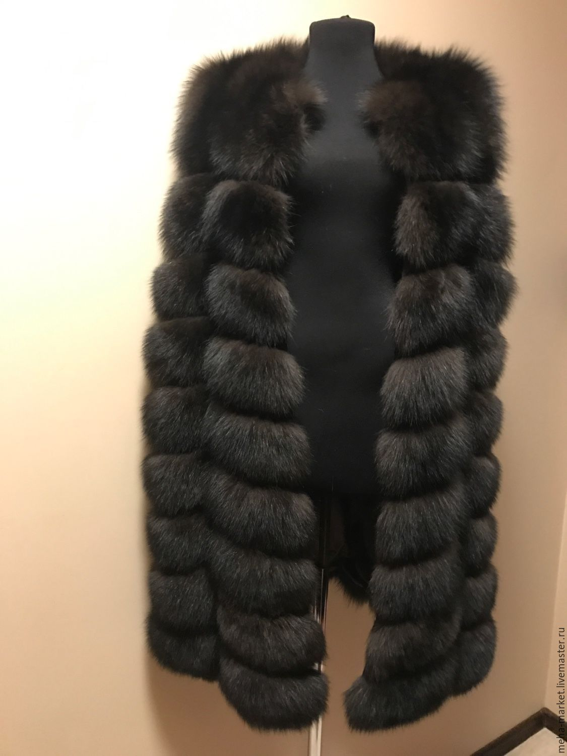 Vest made of Fox fur, the color of `Sable`