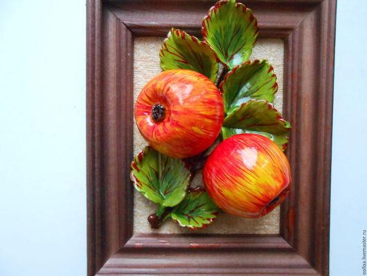 """Картины цветов ручной работы. Ярмарка Мастеров - ручная работа. Купить """"Яблоко """" панно, полимерная глина, картина. Handmade."""