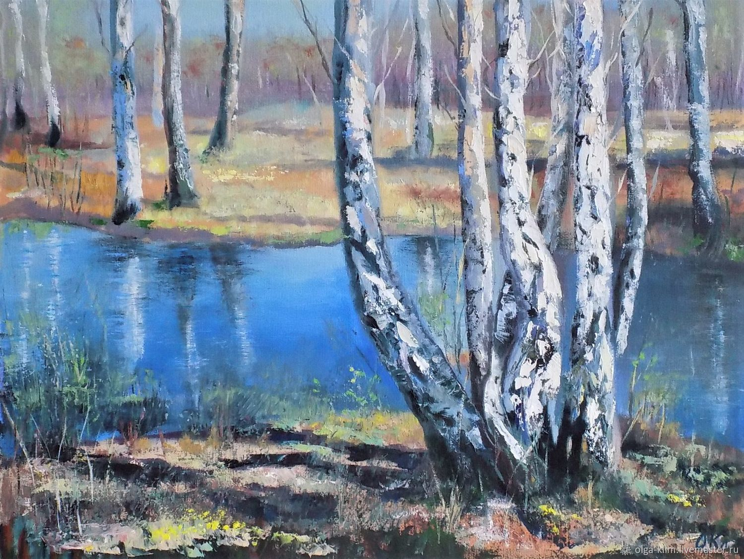 Painting Early Spring Painting Spring in a Birch Grove Landscape Oil Painting, Pictures, Ekaterinburg,  Фото №1
