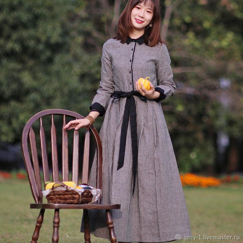Длинные рукава льняная черная клетка платье, Юбки, Гуанчжоу,  Фото №1