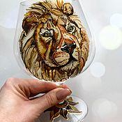 Посуда handmade. Livemaster - original item A glass painting of lion. Handmade.