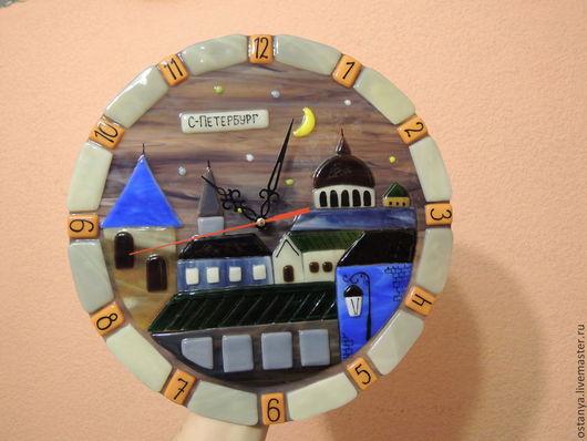 """Часы для дома ручной работы. Ярмарка Мастеров - ручная работа. Купить Часы настенные из стекла """"Санкт-Петербург"""". Handmade. Часы"""