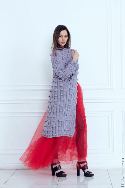 Верхняя одежда ручной работы. Ярмарка Мастеров - ручная работа. Купить Вязаное пальто с шишками от KESLOVE. Handmade. Серый