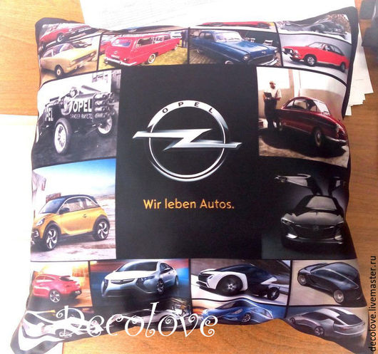 Автомобильные ручной работы. Ярмарка Мастеров - ручная работа. Купить Подушка с логотипом Опель Opel подарок для автолюбителя. Handmade.