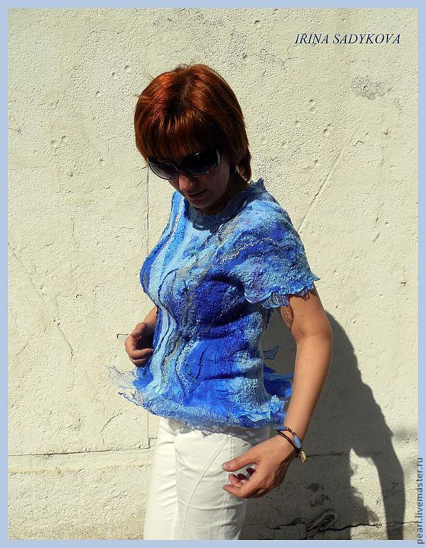 Блузка синяя шелковая с доставкой