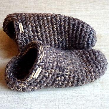 Обувь ручной работы. Ярмарка Мастеров - ручная работа Тапочки-чуни, коричневая полушерсть. Handmade.