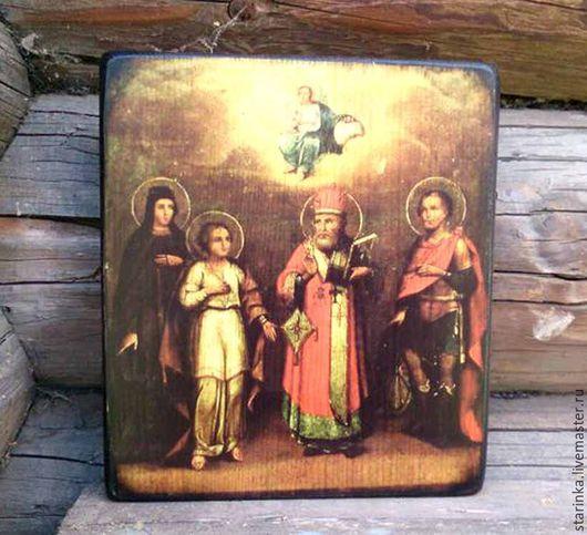Иконы ручной работы. Ярмарка Мастеров - ручная работа. Купить Икона деревянная Христос с избранными святыми. Handmade. икона в подарок