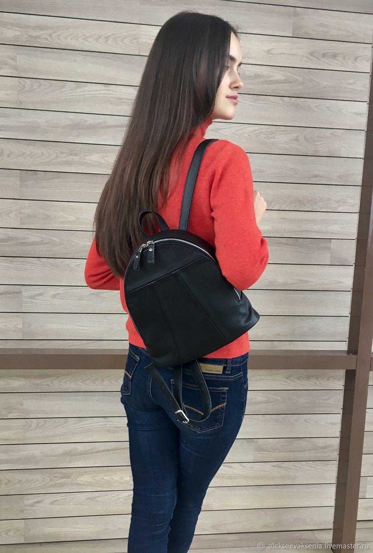 Backpack small black genuine leather, Backpacks, St. Petersburg,  Фото №1