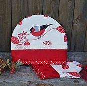 """Для дома и интерьера ручной работы. Ярмарка Мастеров - ручная работа Грелка для чайника и прихватка """"Снегири"""", новогодний текстиль. Handmade."""