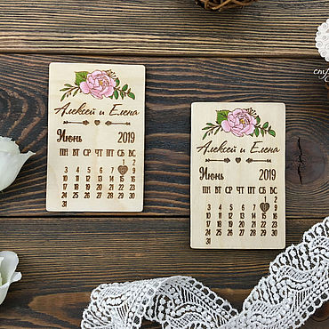 Сувениры и подарки ручной работы. Ярмарка Мастеров - ручная работа Магниты на свадьбу из дерева, с пионом. Handmade.