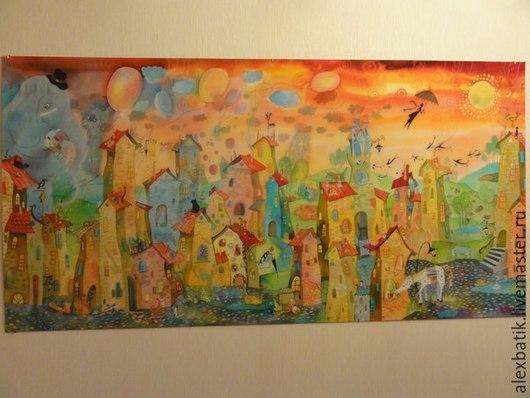 """Детская ручной работы. Ярмарка Мастеров - ручная работа. Купить Батик панно """"Солнечный город"""". Handmade. Разноцветный, детская комната"""