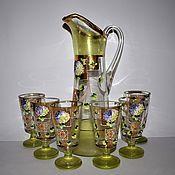 Винтаж handmade. Livemaster - original item Vintage set pitcher 6 glasses hand painted 19 century Bohemia. Handmade.