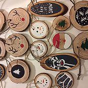 Для дома и интерьера ручной работы. Ярмарка Мастеров - ручная работа Спилы с рисунками на ёлку. Handmade.