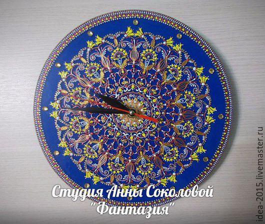"""Часы для дома ручной работы. Ярмарка Мастеров - ручная работа. Купить Часы """" Фантазия"""". Handmade. Синий"""