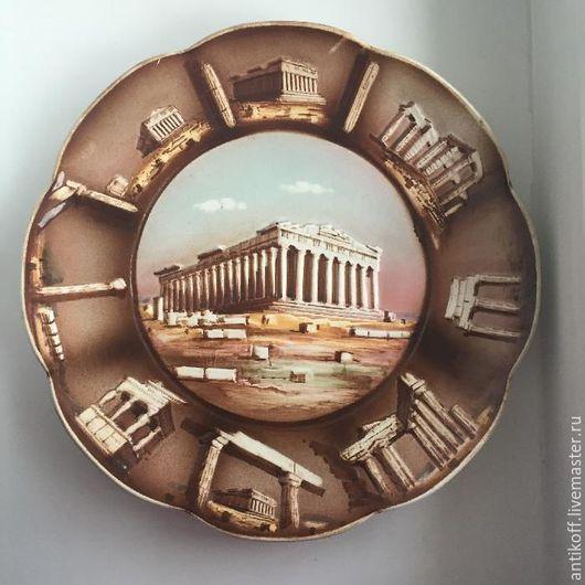 Винтажные сувениры. Ярмарка Мастеров - ручная работа. Купить Тарелка Греция. Handmade. Коричневый, фарфоровая тарелка, декоративная тарелка, винтаж