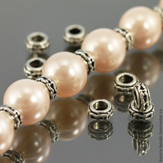 Бусины металлические Кольцо с покрытием античное серебро для сборки украшений комплектами по 10 бусин\r\nПример использования в качестве разделителей бусин или спейсеров