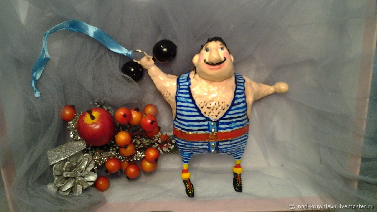 Dolls and dolls: Cotton toy for the Christmas tree ' Strongman', Dolls, Moscow,  Фото №1
