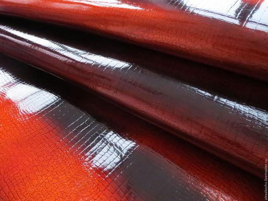 Шитье ручной работы. Ярмарка Мастеров - ручная работа. Купить Кожа натуральная Змея оранжевый лак. Handmade. Оранжевый