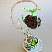 Цветы и флористика ручной работы. Ярмарка Мастеров - ручная работа мини-деревце сердечко на подвесе в зеленой чашке. Handmade.