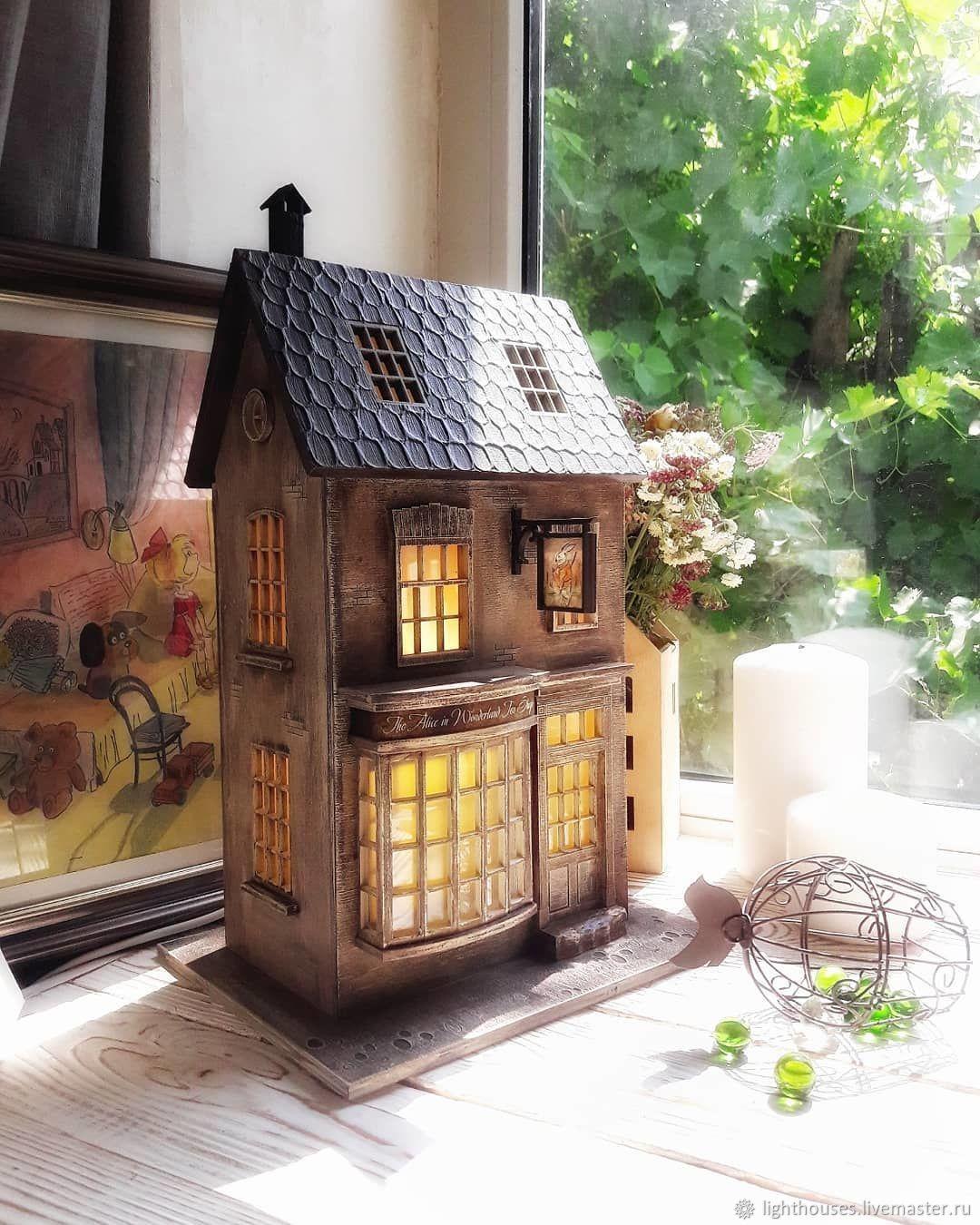 Освещение ручной работы. Ярмарка Мастеров - ручная работа. Купить Уютная чайная лавка 'Alice in Wonderland tea shop'. Домик-ночник. Handmade.