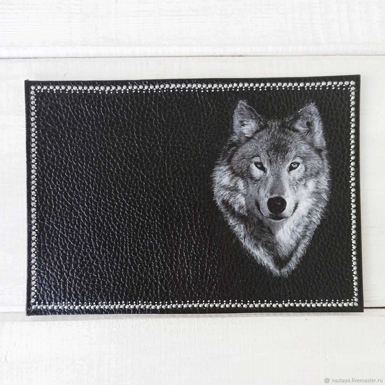 Passport cover men's genuine leather black Wolf, Passport cover, Barnaul,  Фото №1