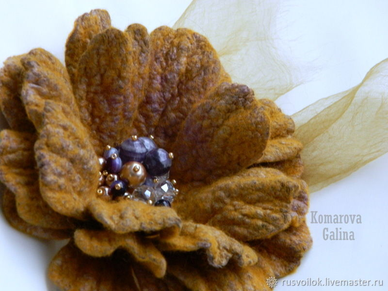 Flower brooch felted 'Shades of saffron', Brooches, Moscow,  Фото №1