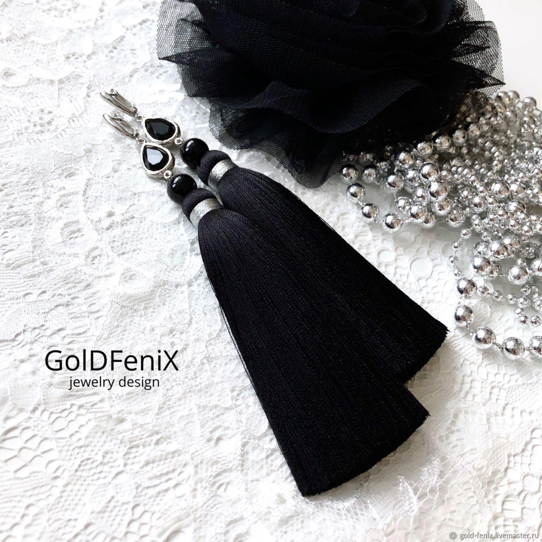 Earrings-brush black silver silk agate rhodium se.glass, Tassel earrings, St. Petersburg,  Фото №1