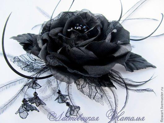 Броши ручной работы. Ярмарка Мастеров - ручная работа. Купить Брошь из ткани Чёрная роза. Handmade. Черный, черный цветок