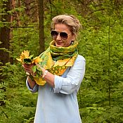 Аксессуары handmade. Livemaster - original item Dandelion time felted scarf, air light yellow green scarf. Handmade.