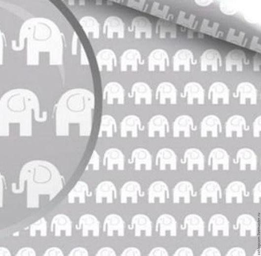 Шитье ручной работы. Ярмарка Мастеров - ручная работа. Купить Хлопок Слоны белые на сером (Польша). Handmade. Серый, ткани
