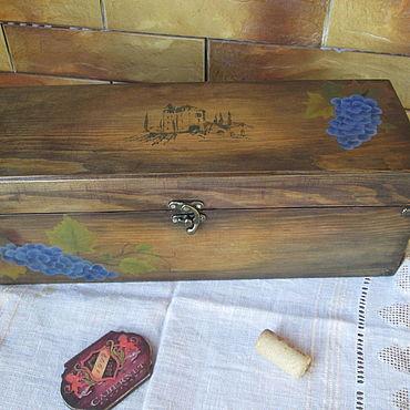 "Souvenirs and gifts handmade. Livemaster - original item Винный короб""Chateau"" сосна(Роспись). Handmade."