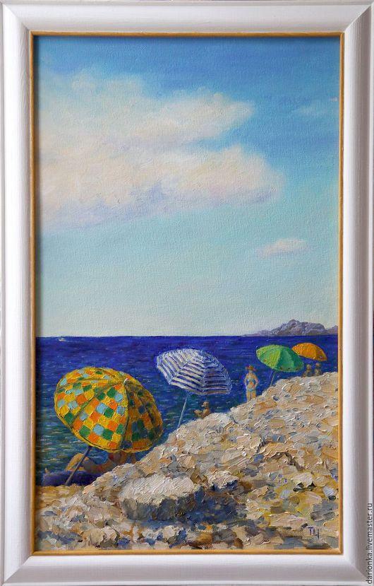 Пейзаж ручной работы. Ярмарка Мастеров - ручная работа. Купить Зонтики на диком пляже. Масло, холст на двп. Handmade. Синий