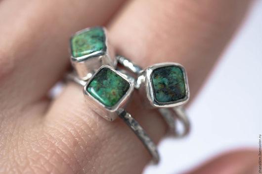 Кольца ручной работы. Ярмарка Мастеров - ручная работа. Купить Серебряное кольцо с зеленой бирюзой, выберите размер. Handmade. Зеленый