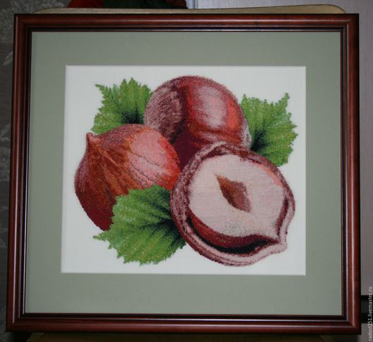 Натюрморт ручной работы. Ярмарка Мастеров - ручная работа. Купить орехи. Handmade. Комбинированный, орехи, Вышивка крестом, на заказ, подарок