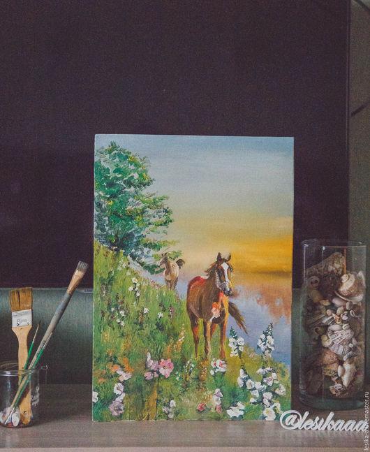 """Животные ручной работы. Ярмарка Мастеров - ручная работа. Купить Картина маслом """"Лошади"""". Handmade. Лошади, картина маслом, утро"""