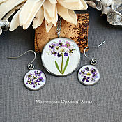Украшения handmade. Livemaster - original item Set of resin jewelry with real flowers