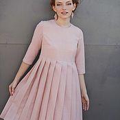 """Одежда ручной работы. Ярмарка Мастеров - ручная работа """"Розовая пудра"""". Тёплое шерстяное платье с юбкой в складку.. Handmade."""