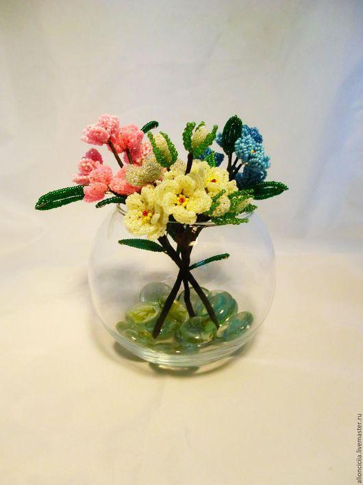 Цветы ручной работы. Ярмарка Мастеров - ручная работа. Купить ваза с цветами из бисера. Handmade. Цветы, цветы из бисера, ваза