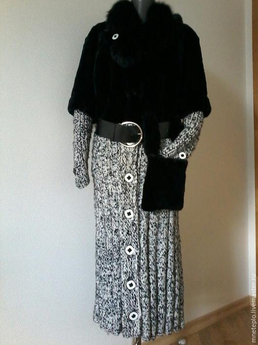 Верхняя одежда ручной работы. Ярмарка Мастеров - ручная работа. Купить Вязаное зимнее пальто. Handmade. Чёрно-белый